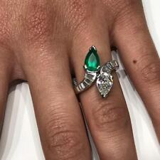 Pear Shape Green Emerald and Diamond with Baguette Accents Set in Platinum