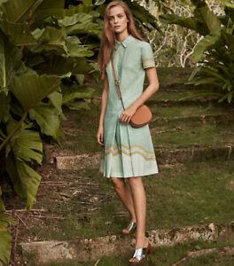 Tory Burch Dress Emmy shirtdress Mosaic 4 S Stretch Poplin