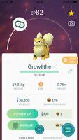 Pokemon Go SHINY GROWLITHE Level 20 Account BAN/HACK FREE!