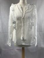 White Frill Top Womens Top Size 14 White Frill 100% Cotton New Look BNWT