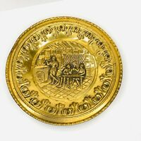 Vintage Embossed Brass Wall Plate Made In England Tavern Pub Scene