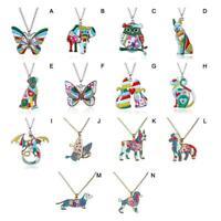 Farbe Tier Drache Schmetterling Hund Katze Anhänger Halskette Frauen Schmuck