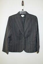 ANN TAYLOR LOFT gray pink pinstripe 1 button blazer jacket size 10P