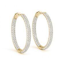 1.5 Inch 6 Carat Diamond Hoop Huggie 3 Row Earrings 14k Yellow Gold Gorgeous Big