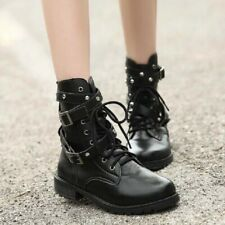 US9 Womens Rivets Buckle Strap Lace Up Ankle Motorcycle Boots Fashion Shoes
