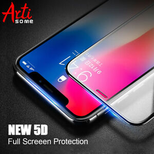 5D Glass For iPhone X 7 8 6 6s Tempered Glass Curved Full Cover Screen Protector