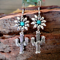 925 Silver Plant Cactus Turquoise Ear Hook Dangle Drop Exquisite Earrings