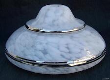 Globe Verre Clichy moucheté blanc filets argentés Vasque Abat-jour ancien