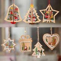 3D DIY Colorful Christmas Wooden Ornaments Christmas Tree Hanging Pendants Nice