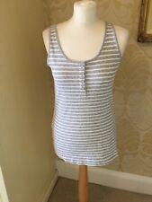New NEXT Grey/White Striped Cotton Stretch Vest Top Sizes 8,10,12,14,22,24