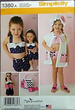 New Pattern 1380 Child Sz 3 -8 and Doll Swim Play Suit fit 18 inch American Girl