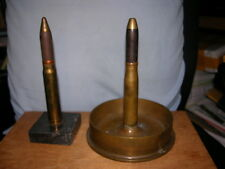 """2 WW II Trench Art Ashtray with Lighter and Lighter Heavy Brass B.B. Co. 5"""" USWN"""