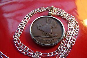 "1943 Irish Rare Penny Pingin Pendant on a 28"" 925 Sterling Silver Chain"