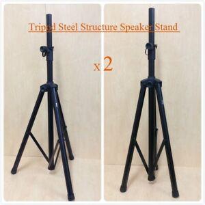 Two (x2) Haze SS005 Heavy Duty Adjustable Tripod PA DJ Speaker Stand, Black
