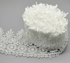 95mm Width Embroidered Lace Trim Ribbon Wedding Bridal Sewing Applique Craft 1yd