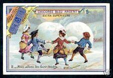 French Victorian Trade Card: Antique Chicoree Bleu Argent est. 1890-1920