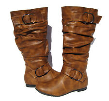 Women's Flat Winter BOOTS Slouch Fashion Camel Snow shoes Ladies Size 5.5