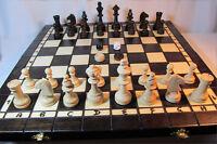 Schach, Schachspiel + Dame + Backgammon aus Holz 40 x 40 cm