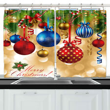 christmas balls window curtain treatments kitchen curtains 2 panels 55x39 - Christmas Kitchen Curtains