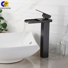 Bathroom Waterfall Laundry Black Oil Rubbed Bronze Mixer Tap Sink Faucet