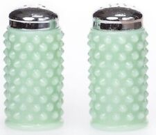 Salt & Pepper Shaker Set Hobnail Gigi - Jade Jadeite Green Glass - Mosser USA