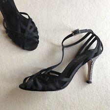 'MIDAS' Black SATIN Strappy T-Bar ANKLE Strap DIAMANTE Stiletto HEELS Size 36 6