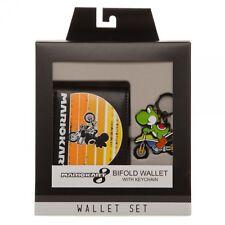 Nintendo Mario Kart Yoshi Bifold Wallet Keychain Gift Set Mario Cart Classic NES