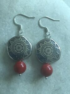 Red Coral Boho Shields Earrings - 925 Sterling Silver - Gift Bag - Free P&P