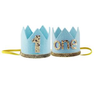 Infant Baby Boys/Girls Shiny 1st Birthday Sparkly Party Hat Headband Photo Props