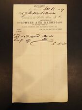 Seller Bros. & Co. Stoves and Ranges Letterhead Invoice 1889