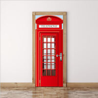 2 x 3D Self Adhesive Door Wall Fridge Sticker Wrap Mural Telephone Booth