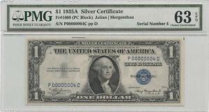 1935A $1 Silver Certificate PMG Choice UNC 63 EPQ Low Fancy S/N P00000004C