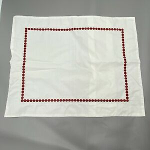 Pottery Barn Pearl Small Accent Pillow Cover/Sham Embroidered Rectangle Ruby Red