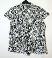 Nero Bianco Geometrica Blusa camicia per una taglia 18