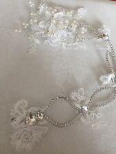 Lace Diamante crystal Pearl Vintage Look Hair Piece Clip Wedding Accessories