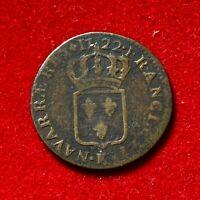 #2701 - RARE Louis XV Demi sol au buste enfantin 1722 K Bordeaux R2 TB+ FACTURE