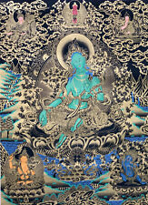Hand-painted Green Tara  Large Thangka Painting, Finest Art, on Canvas, 28 x 38-