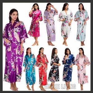 WA_003 FLORAL SATIN ROBE Kimono Dressing Gown Wedding Bride Bridesmaid Party