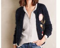 Anthropologie Moth Embroidered Vertical Garden Cardigan Sweater S