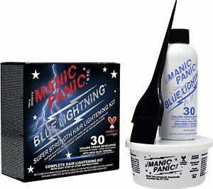 Manic Panic Blue Lightning Super Strength Hair Bleaching Kit 30 Vol Cream Devlp