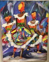 Marsha Stein original Moko Jumbie Carnival abstract painting on canvas