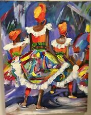 Marsha Stein original Moko Jumbie Carnival abstract painting on canvas