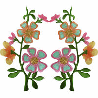 Pair of Pink Peach Flower Patches Iron On Sew On Flowers Embroidered Patch Badge