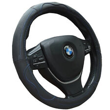 Black Synthetic Leather Steering Wheel Cover with Blue Stitch for Auto Grip