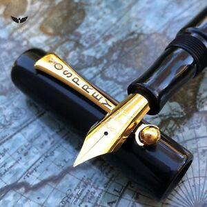 Osprey Pens Milano Black ebonite golden Company With Golden Clip & EEF Size 6 GP