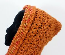 MEO CROCHETED HOOD SCARF SHAWL WRAP BURNT ORANGE & GOLDEN BROWN KNIT