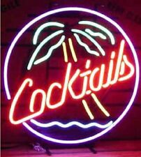 """Cocktails Palm Tree Neon Sign Glass Light Beer Bar Real Neon Light20""""X16"""""""