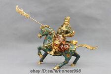 China Bronze Cloisonne Enamel Guan Gong Ride Horse Guan Yu Warrior God Statue