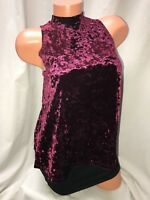 Womens Crushed Velvet Tank Top High Neck Mock Cutout In Back Wine