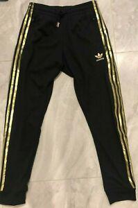 NWT Adidas Original Superstar 24K Cuffed Track Pants - S (GK0656) Black/ Gold